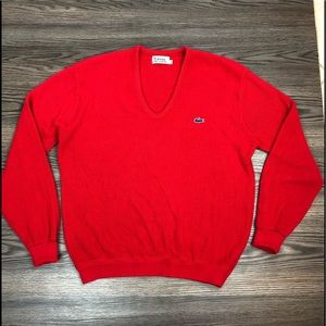 Lacoste Red V-Neck Sweater XL